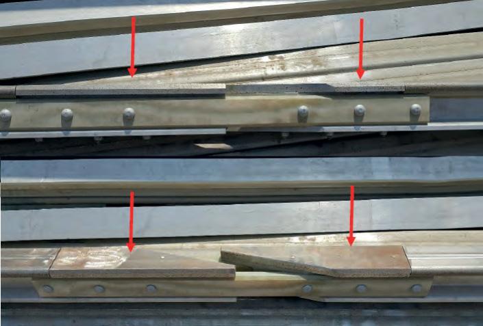 Anormaler Verschleiß bei Aufläufen der Seitenstromschiene